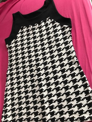0039 Italy A Line Dress black-white spandex