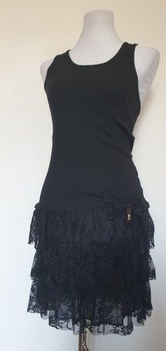 Shirtkleid Top mit Spitze Volant Rock schwarz Gothic Kleid Minikleid Gr 36 38