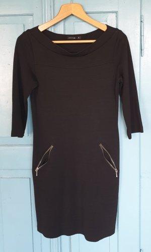 Comma Vestido de tela de sudadera negro Algodón