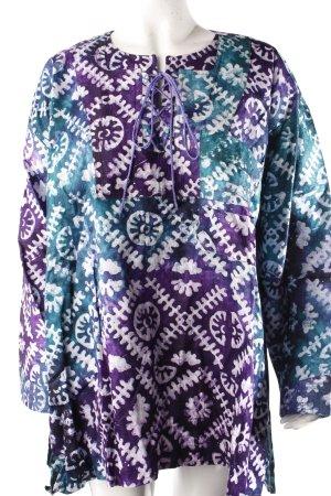 Shirttunika lila-türkis gemustert