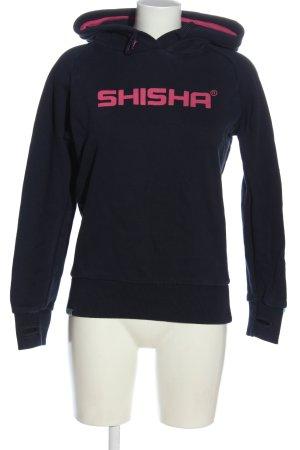 Shisha Sudadera con capucha azul-rosa estampado temático look casual
