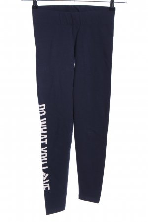 Shisha Leggings blue-white printed lettering casual look