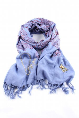 Shiva Shoulder Scarf blue-brown casual look