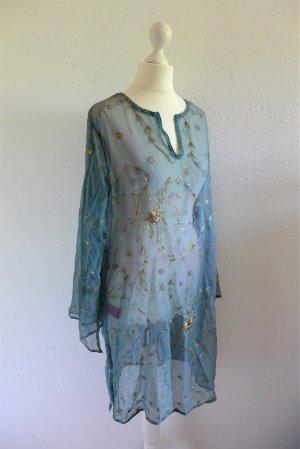 Shivadiva Tunika Longbluse Kleid türkis blau gold Stickerei Boho Ibiza Seide Gr. M