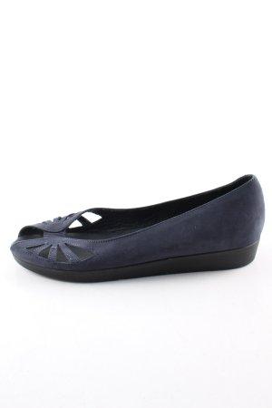 Shoe Biz Copenhagen Bailarinas con tacón con punta abierta azul look casual