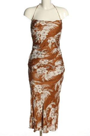 Shona Joy Vestido de cuello Halter marrón-blanco elegante