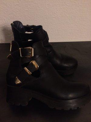 Shoot, Combat Boots, goldfarbene schnallen, Track, Gr. 38