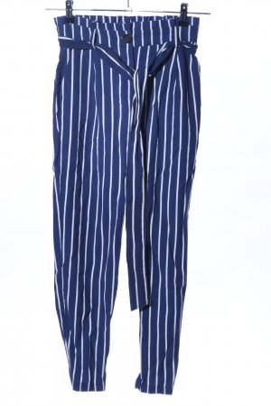 Pantalone peg-top blu-bianco motivo a righe stile casual
