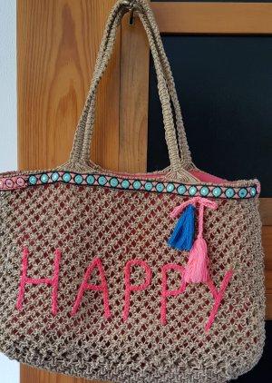 Shopper aus Jute mit Happy Schriftzug