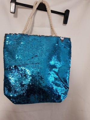 Torebka materiałowa niebieski-bladozielony Bawełna