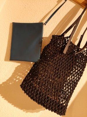 Shopper blau gehäkelt Innentasche Sommer