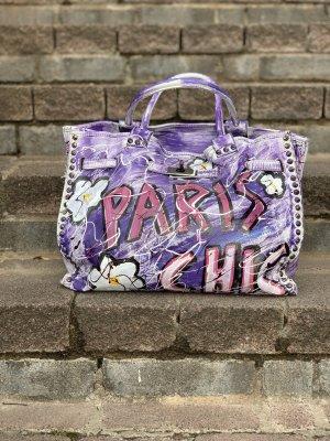 Shopper  echtes Leder Unikat im Vintage Style lila