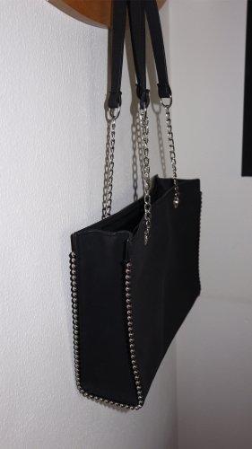 Torba shopper czarny-srebrny