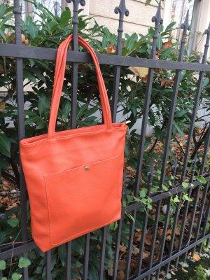 Börse in Pelle Shopper orange fluo cuir