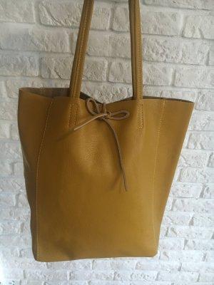 Shopper Handtasche Ledertasche weich senf Leder neu