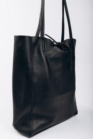 Shopper Ledershopper Handtasche Tasche schwarz neu