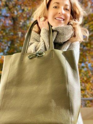 Shopper Ledertasche Ledershopper Olive neu