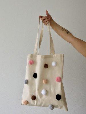Shopper mit Pom poms/ Jute Tasche