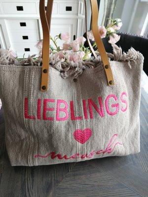 Shopper Tasche Baumwolle mit Lederriemen Beige