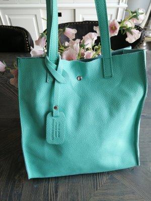 Genuine Leather Shopper vert menthe