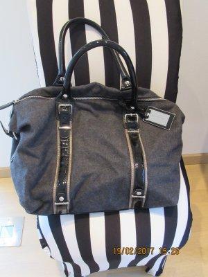 Shopper von Zara in  anthrazit mit Schwarzem Lack und Silberdetails Tasche Tote