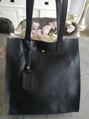Genuine Leather Shopper noir
