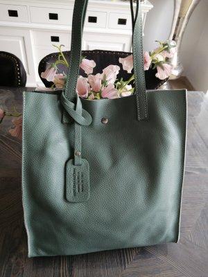 Genuine Leather Shopper gris vert-vert menthe