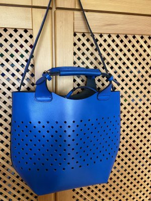 Shopping Bag aus Leder in royalblau