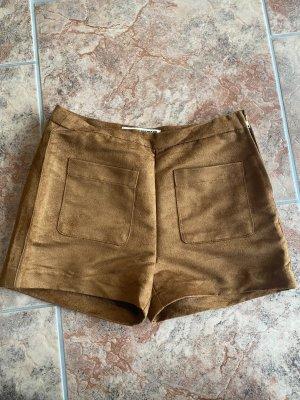 Short aus Velours Leder Imitat