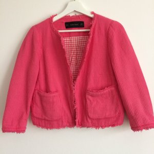 Zara Blazer in tweed magenta-rosa Cotone