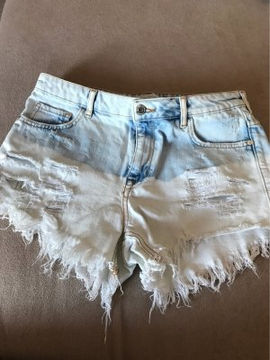 Bershka Short en jean bleu azur-bleu clair coton