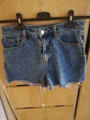 H&M Short taille haute bleu