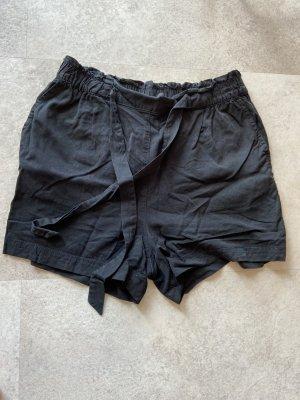 H&M Pantalón corto de talle alto negro tejido mezclado