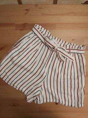 H&M Pantalón corto de talle alto blanco puro-rojo ladrillo