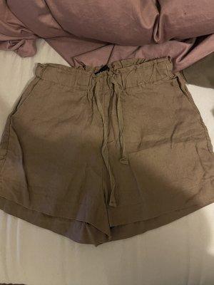 Pantaloncino a vita alta marrone-grigio-cachi