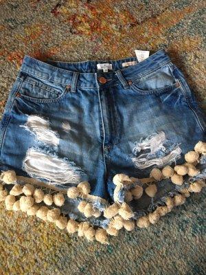 Shorts crema-azul pálido
