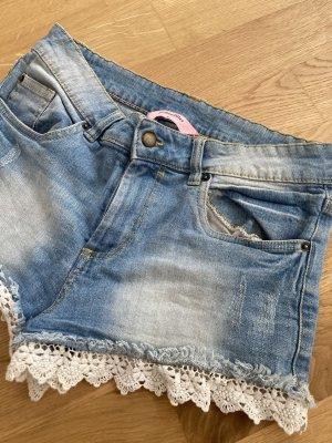 Hunkemöller Shorts azure-white cotton
