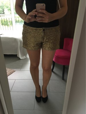Shorts in grau mit goldenen Pailletten