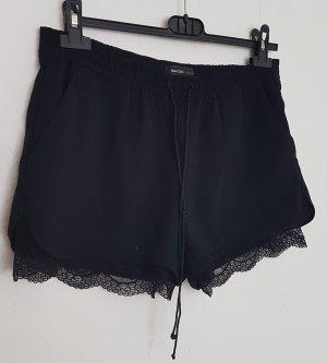 Mango Pantalón corto de talle alto negro