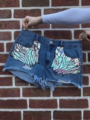 Shorts mit Pastellfarbenen Pailletten