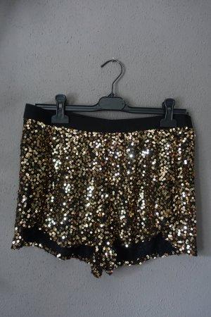 H&M Pantalón corto negro-color oro Viscosa