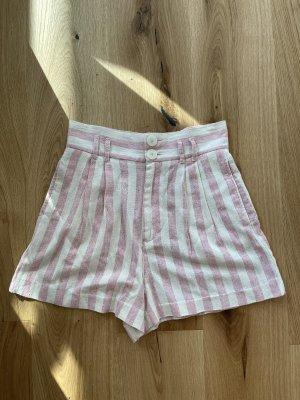 Zara Pantalón corto de talle alto blanco-rosa