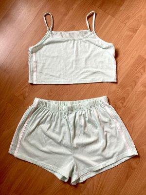 SheIn Spodnie z wysokim stanem miętowy-biały