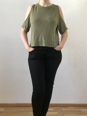 Dividend T-shirt court vert olive viscose
