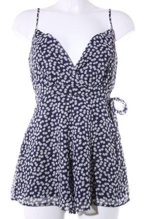 Showpo Jumpsuit blau-weiß Blumenmuster Casual-Look