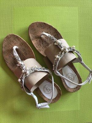 Si Barcelona Sandalo toe-post bianco-beige