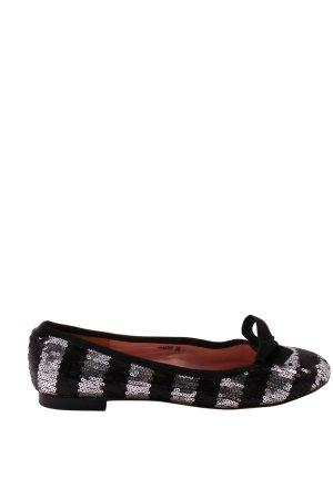 Sí Foldable Ballet Flats black-silver-colored striped pattern glittery