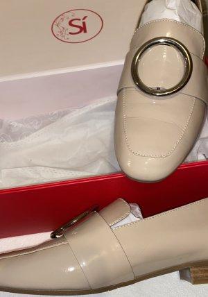 Si Lack - Slipper  Mode aus Spanien - Halbschuh - Mokkasin - Business -  flacher Schuh - Farbe : Nude