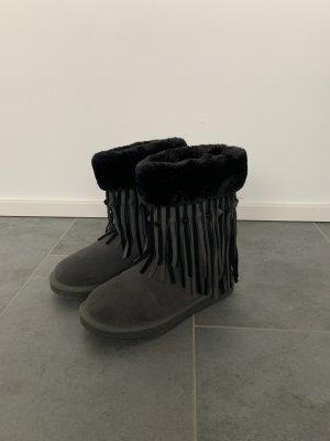 Si Schuhe Stiefel Boots Stoffboots Flauschig Fransen Snow Boot Pelz Gefüttert Boho