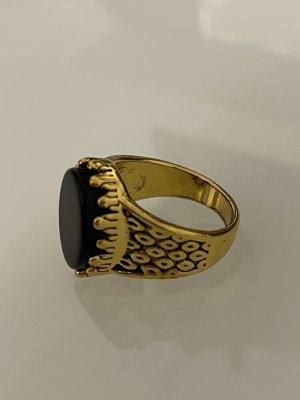 Statement ring goud-zwart